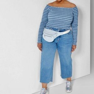Wild Fable Cropped Long Sleeve Gingham Top